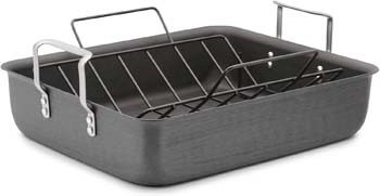 2. Calphalon Classic Hard-Anodized 16-Inch Roasting Pan with Nonstick Rack