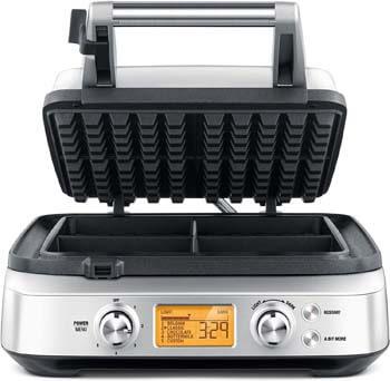 9. Breville BWM640XL Smart 4-Slice Waffle Maker, Silver