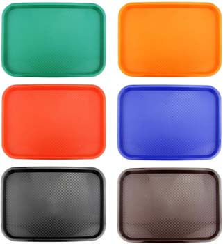 2. New Star Foodservice 28010 6-Piece Fast Food Tray, 12 by 16-Inch, Assorted Colors