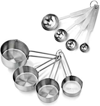 2. New Star Foodservice 42917 Stainless Steel Measuring Spoons and Measuring Cups Combo, Set of 8