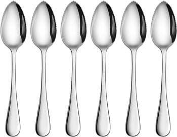 10. Artaste 59373 Rain 18/10 Stainless Steel Grapefruit Dessert Spoon, 6.35-Inch, Set of 6