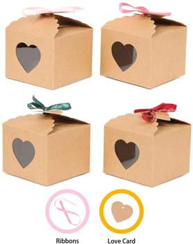 5. YuSang Kraft Boxes with Tags and Ribbons