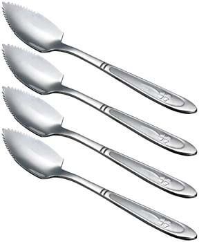 8. HAZOULEN Grapefruit Spoons, Stainless Steel, 6-2/5-Inch, Set of 4 (Clover)