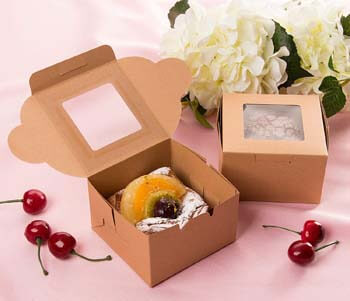 2. Cake Box – 25 Pack Disposable Pastry Box, Kraft Paper Bakery Box