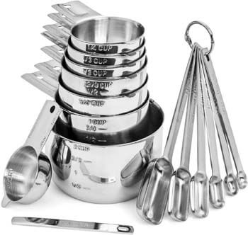 10. Hudson Essentials Stainless Steel Measuring Cups and Spoons Set (15 Piece Set)