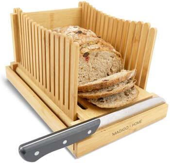 9. MAGIGO Nature Bamboo Foldable Bread Slicer