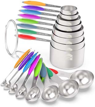 6. Measuring Cups & Spoons Set of 16 - Wildone Premium Stainless Steel Measuring Cups