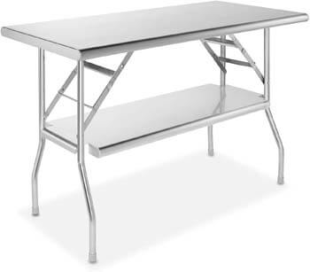 8. GRIDMANN Stainless Steel Folding Table 48 x 24 Inch Kitchen Prep & Work Table