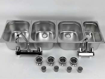 9. Waterworks Concessions Sinks 3 Large + 1 Small Hand Washing- 4 Compartment Stand Food Trailer