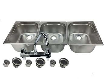 7. Waterworks Concessions Sinks 3 Large Compartment Stand Food Truck Trailer