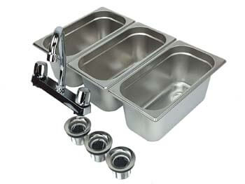 8. Waterworks Concessions Sinks 3 Compartment Portable Stand Food Truck Trailer 3 Small w/Faucet