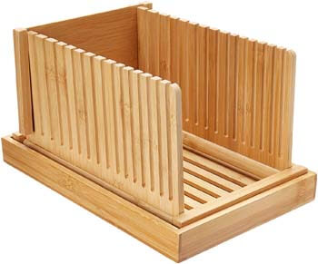 10. Swacole | Bamboo Bread Slicer Guide with Crumb Tray