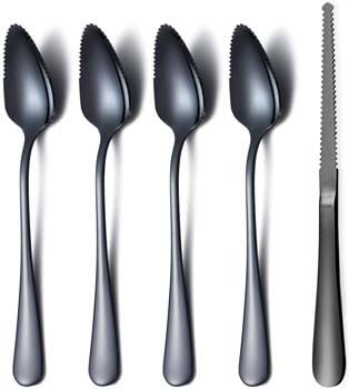 9. Amazon Brand Black Grapefruit Spoons 5 Pieces Set