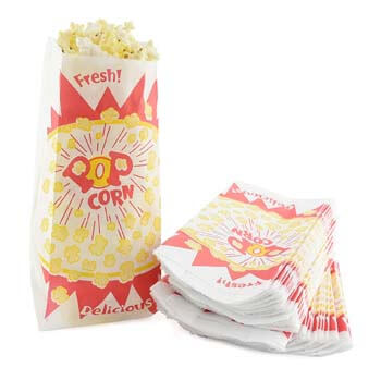 6. Snappy Popcorn 1 oz. Popcorn Bag, Burst Design, 1000 per Case