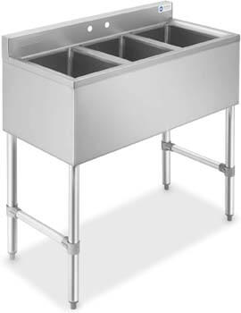 6. GRIDMANN 3 Compartment NSF Stainless Steel Commercial Bar Sink