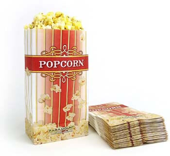 7. 100 Popcorn Serving Bags - 'Large' Standalone Flat Bottom Paper Bag Style