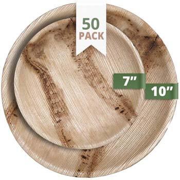 7. CaterEco Round Palm Leaf Plates Set