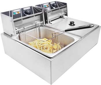 5. Clevr Two 11 Liter Basins Capacity Commercial Stainless Steel Deep Fryer Machine
