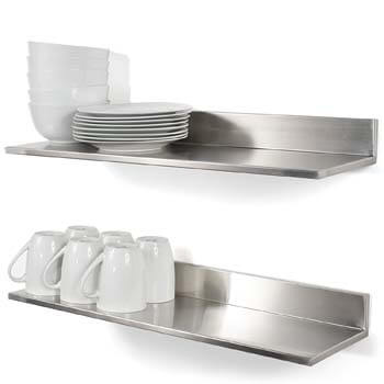 4. Durable Stainless Steel Wall Mountable 23.60 Inch Kitchen Shelf