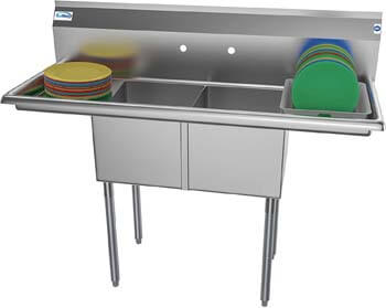 5. KoolMore - SB141611-12B3 2 Compartment Stainless Steel NSF Commercial Kitchen Prep & Utility Sink
