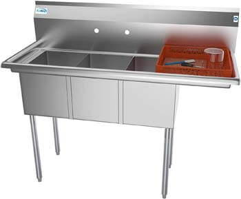 10. KoolMore 3 Compartment Stainless Steel NSF Commercial Kitchen Sink