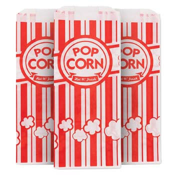 9. 1 Oz Popcorn Bag, Red and White Disposable Carnival Popcorn Bags
