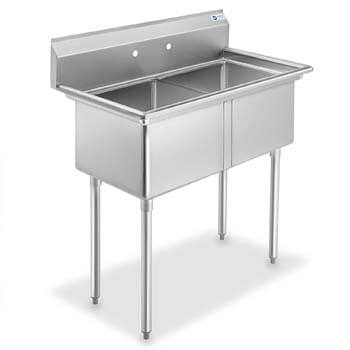 2. GRIDMANN 2 Compartment NSF Stainless Steel Commercial Kitchen Prep & Utility Sink
