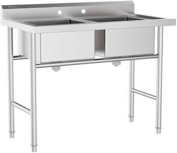 7. AlightUp 2 Compartment 304 Stainless Steel Commercial Sink