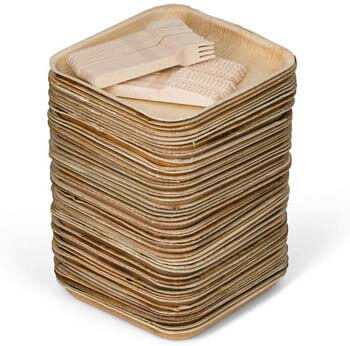 4. Better than Bamboo 50 Square Palm Leaf Plates + 100 Cutlery