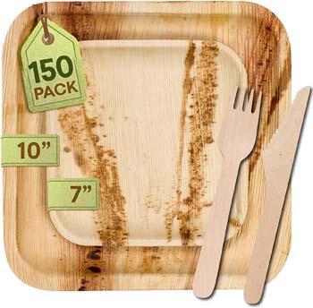 8. Greenwell [150 Pack] Eco-Friendly Palm Leaf Plates