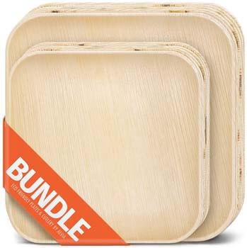 6. Square Palm Leaf Plates Bundle