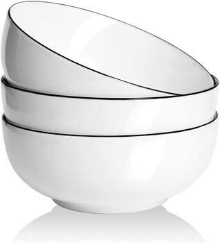 10. AnBnCn Salad/Soup Bowls Set 3-Pack-60 Ounce Big Stackable Round Fine Porcelain