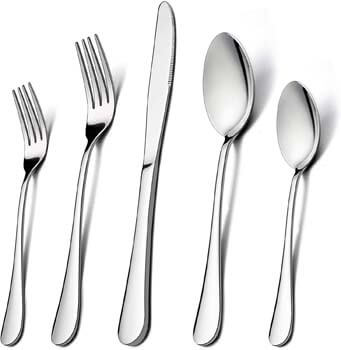 8. LIANYU Stainless Steel Cutlery Eating Utensils Set