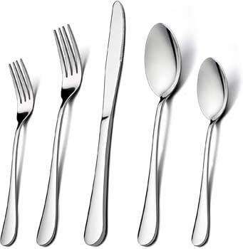 8. LIANYU Stainless Steel Cutlery Eating Utensils Set
