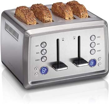 10. Hamilton Beach Digital 4 Slice Extra Wide Slot Stainless Steel Toaster