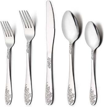 10. LIANYU 40-Piece Silverware Flatware Cutlery Set