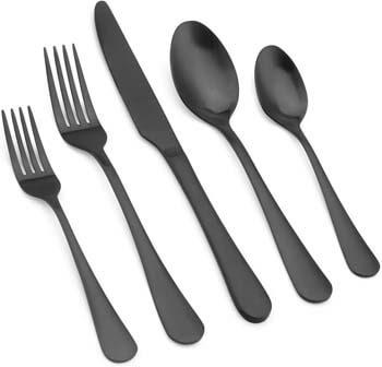 6. Vanys Matte Black Silverware Set